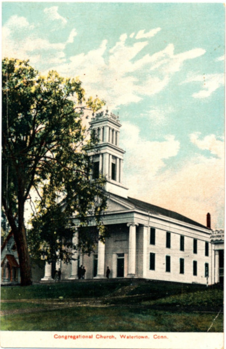 The building of the First Congregational Church of Watertown was erected in 1839 on a hill overlooking the town's Public Green. The building was designed and erected by master builder Steven Baldwin, whose contract called for a structure that would match the size and style of the Plymouth Congregational Church, built the year before.