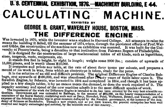 The description of Difference Engine of George Grant at the 1876 Centennial International Exhibition
