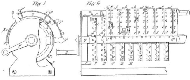The patent drawing of the first machine of Grant (1873)