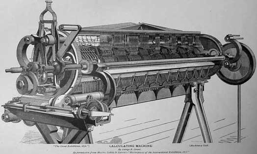 A drawing of the Difference Engine of George Barnard Grant