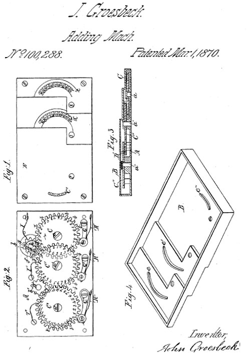 The patent drawing of Groesbeck's adding machine