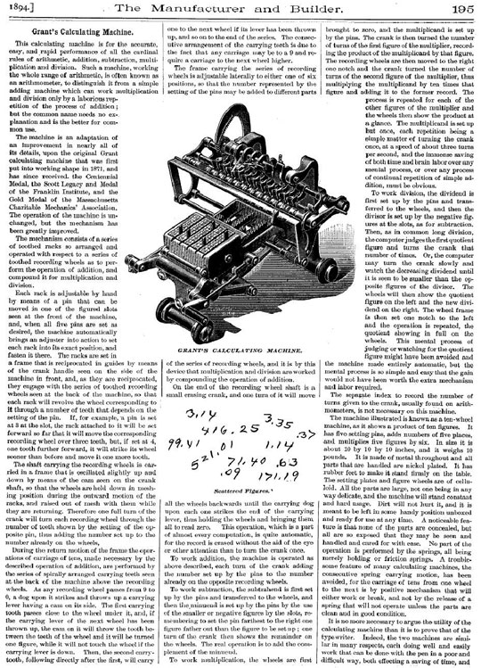 "The ""grasshopper model"" calculating machine of Grant"