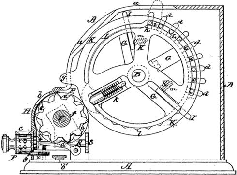 The pin-wheel mechanism of Odhner (patent drawing)