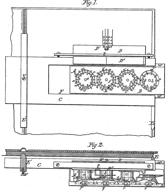 The adding machine of Thomas Strode, patent drawing