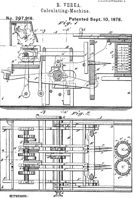 One of the patent drawings of the Verea's machine