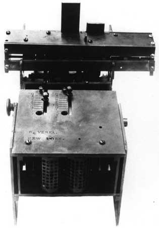 The prototype of the Verea's machine, sent to to the Patent Office
