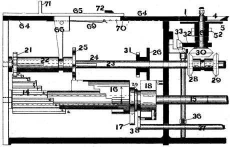 The patent drawing of the circular calculating machine of Edmondson