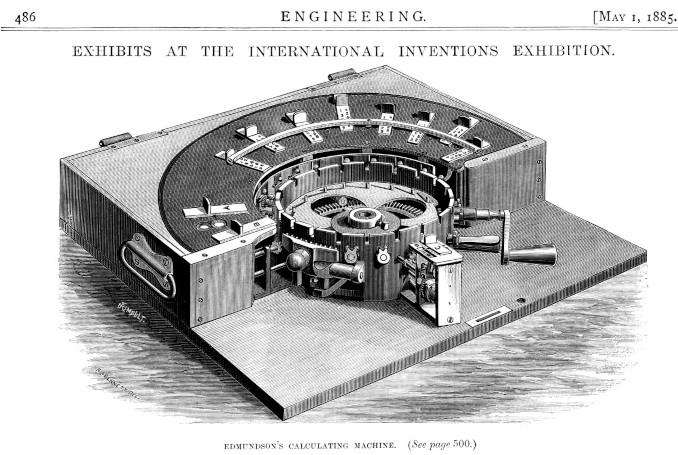 The calculating machine of Edmondson, Engineering magazine, 1 May 1885