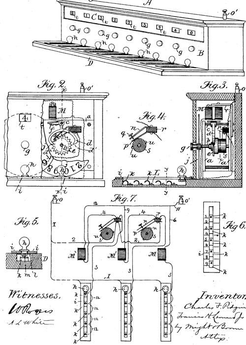 Charles Pidgin's first machine patent drawing
