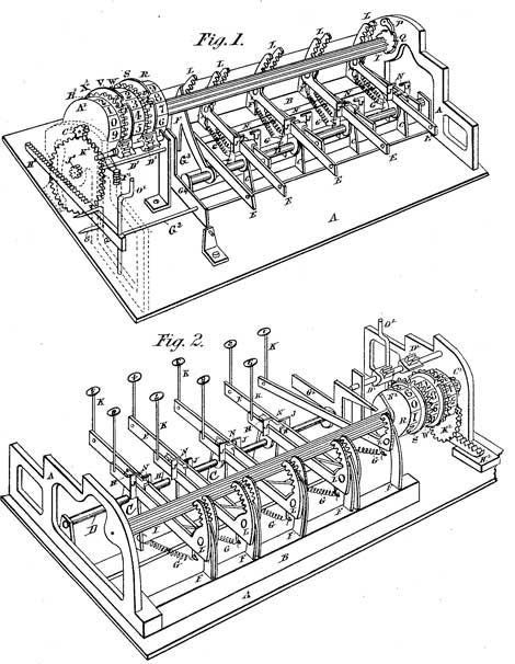 The patent drawing of the Bouchet's machine