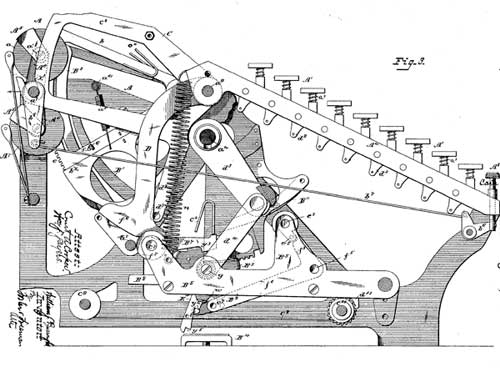 A drawing from the first patent of Burroughs