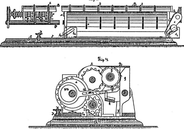 The second machine of Carl Otto Büttner (patent drawing)