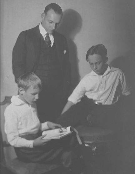 Mortimer Perry Burroughs (1885–1965), with his sons William Seward Burroughs Jr. (1914-1997), and Mortimer Perry Burroughs Jr. (1911-1983), St. Louis, ca. 1920