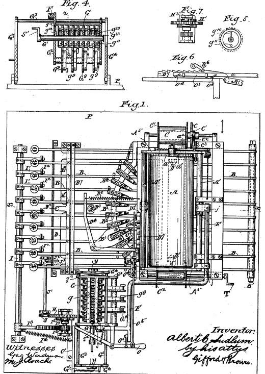 Patent US384373 of Albert C. Ludlum (fig. 1, 4, 5, 6, and 7)