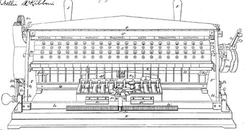 A patent drawing of the calculating machine of Bollée