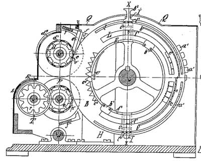 A patent drawing of calculating machine of Wilhelm Küttner (vertical section)