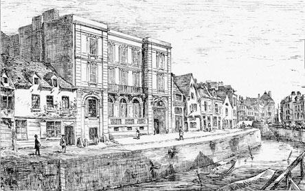 Le Quai et la Maison Cozette in Amiens in 1860