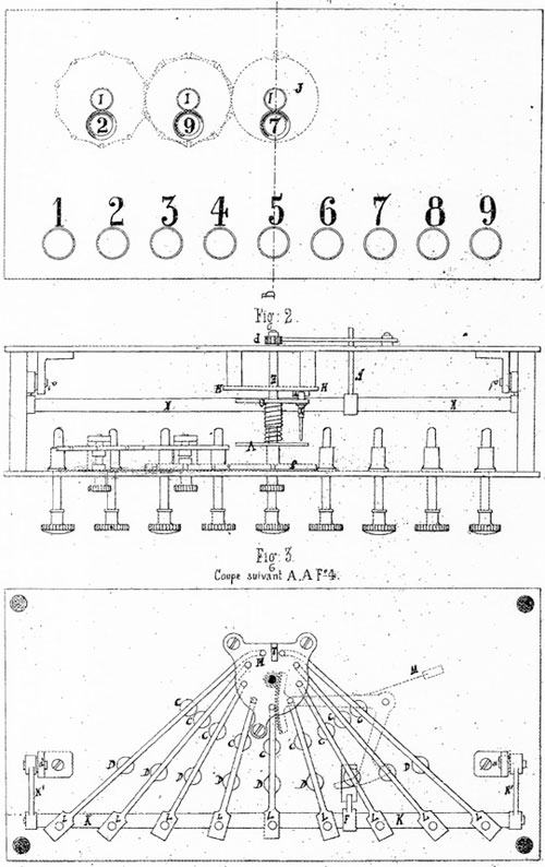 The patent drawing of the first Jacot des Combes' adding machine
