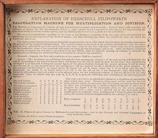 The original description of the calculating rods of Herschell Filipowski
