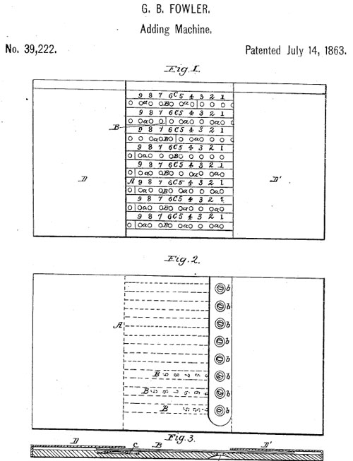 The patent drawing of Fowler's Adder