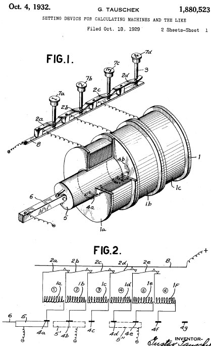 Tauschek patent drawing from 1929 of magnetic drum memory device