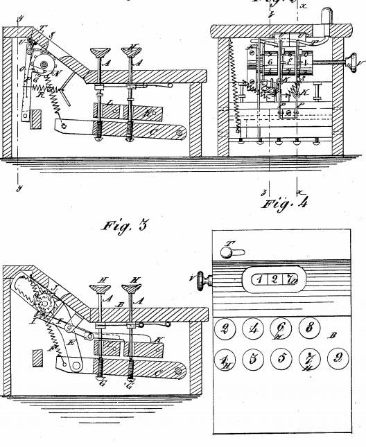 The patent drawing of David Carroll's Adding Machine