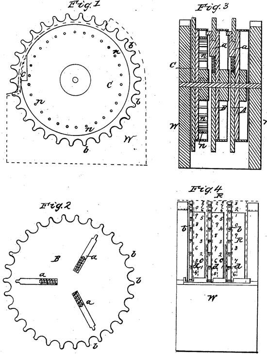 Joseph Harris' adding machine (the patent drawing)