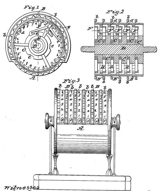 The patent drawing of adding machine of Milton Jeffers