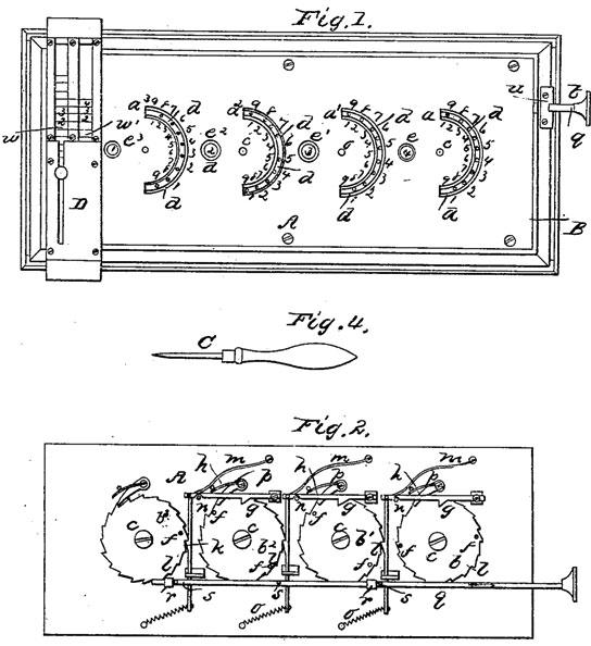 Samuel J. Kelso adding machine (the patent drawing)