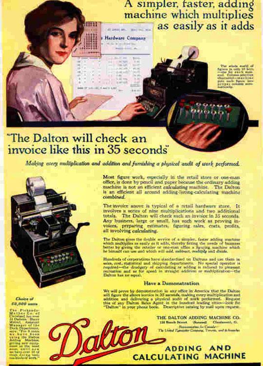 Dalton Adding Machine in booklet from 1917