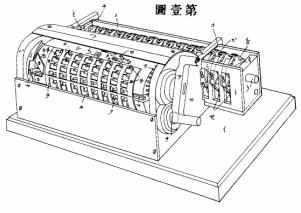 The patent drawing of Yazu's arithmometer
