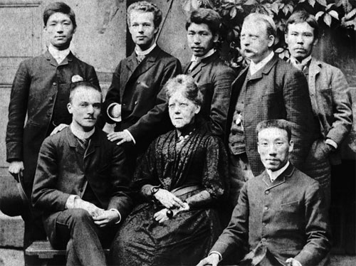 Shohé Tanaka (in the middle of second row) in Germany in late 1880s