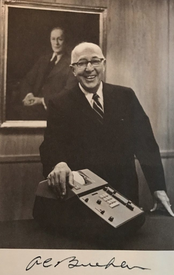 Albert Carl Buehler (1897-1971) seen in his later years (1960s) with a portrait of his father Carl Buehler (1866-1932) behind him (Source: www.madeinchicagomuseum.com)