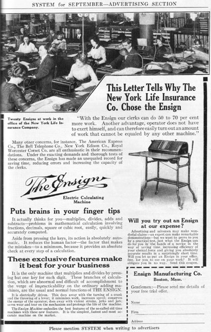 Ensign Electric Calculating Machine, advertisement from September 1913 issue of the magazine SYSTEM