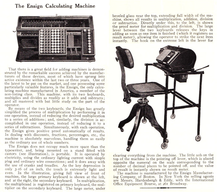 Ensign Calculating Machine, ad from 1910
