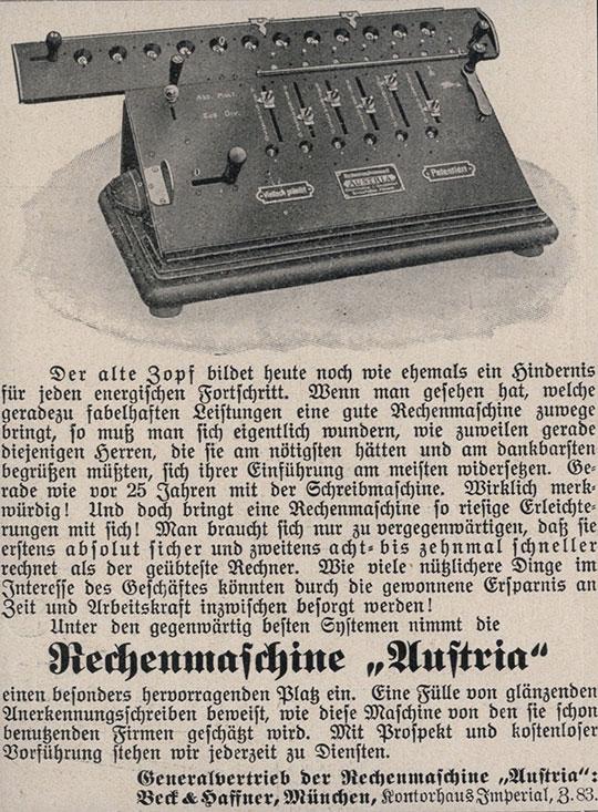 An advertisement of Austria calculating machine of Samuel Herzstark