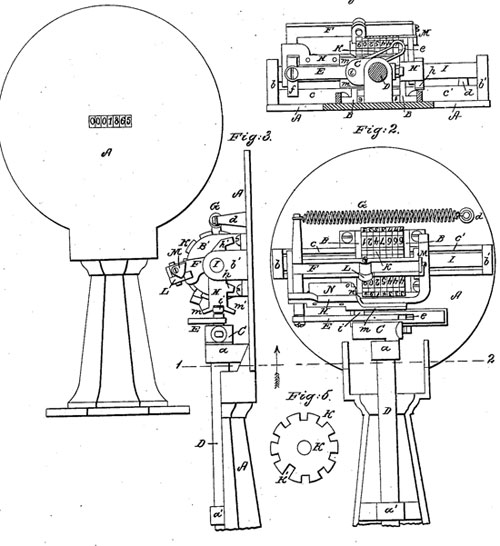 The patent drawing of Samuel Comfort's counting-machine