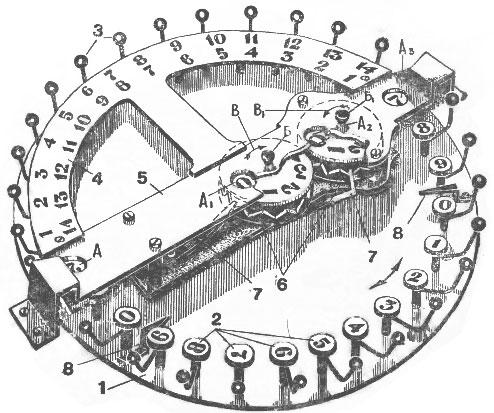 A drawing of automated abacus of Bunyakovsky (Самосчеты Буняковского)