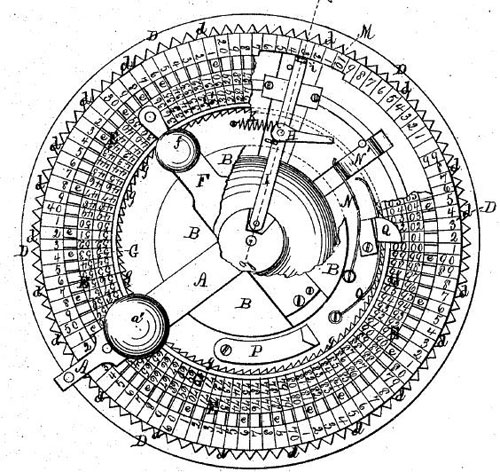 Elmore Taylor's adding machine (the patent drawing)