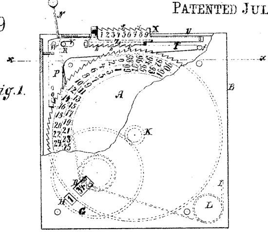 Emery Hamilton's adding machine (the patent drawing)