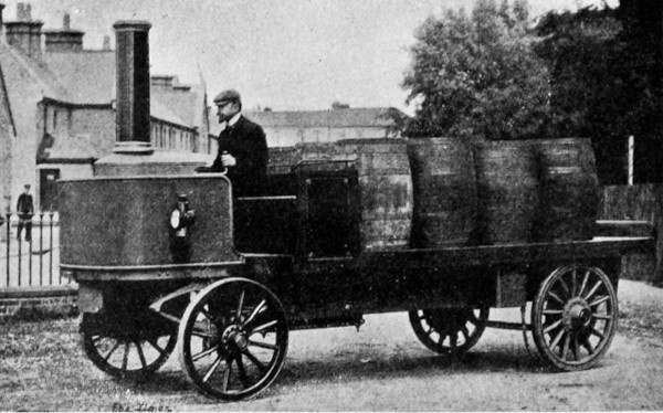 Henry Alonzo House behind the wheel of his steam driven car—LiFu Steam Wagonette