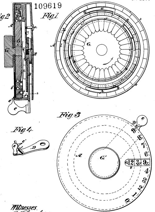 The patent drawing of Henry House' calculating device