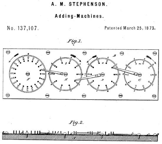 The patent drawing of Stephenson's adding machine
