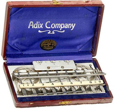 The Adix adding machine (courtesy of Mr. Arthur Rosen)