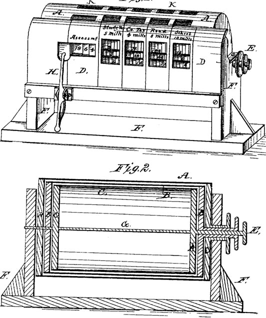 The patent drawing of Niels Larsen's calculating machine