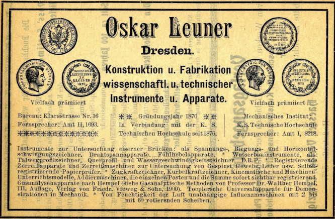 An advertisement of Mechanische Institut of Oskar Leuner an der technischen Hochschule zu Dresden from 1907