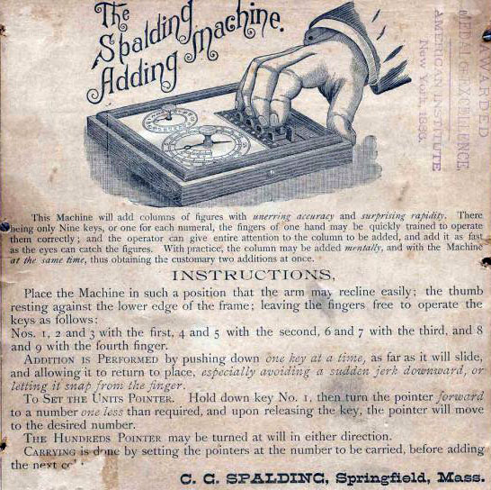 Spalding Adding Machine Instruction