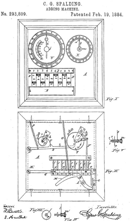 The patent drawing of Spalding's adding machine (second patent)
