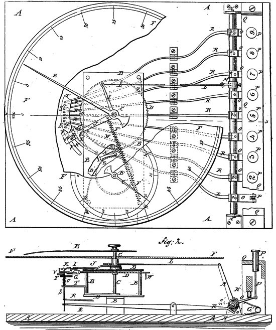 The patent drawing of adding machine of Borland and Hoffmann