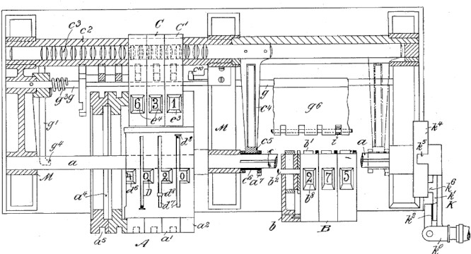 The Esser calculating machine (patent drawing from US561099)